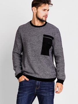 Ericdress Patchwork Crew Neck Pullover Men's Sweater