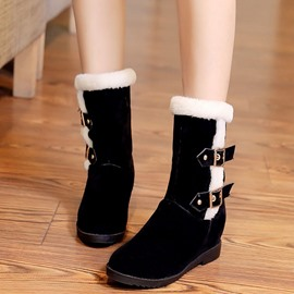 Ericdress Charming Furry Buckles Snow Boots