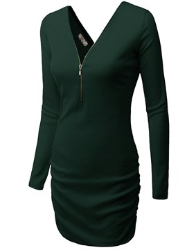 Zipper V-Neck Plain Bodycon Dress