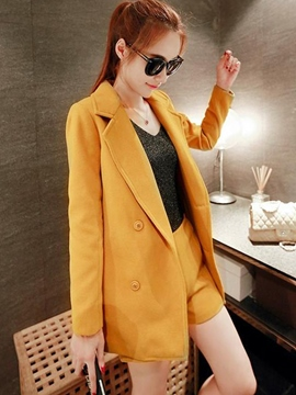 Ericdress Plain Color Notched Lapel Jacket Short Suit