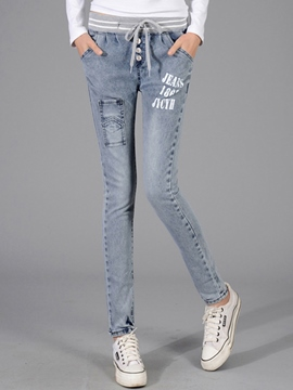Ericdress Letter Print Worn Lace-Up Skinny Jeans