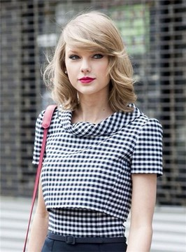 Ericdress Taylor Swift Shoulder Length Natural Wavy Side Swept Fringes Lace Front Human Hair Wigs 12 Inches