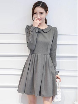 Ericdress Peter Pan Collar Patchwork Pleated Above KneeCasual Dress