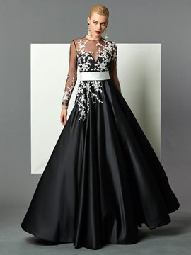 Ericdress Elegant Long Sleeve Applique Floor Length Long Evening Dress
