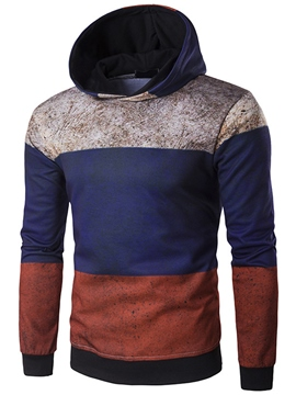 Ericdress Color Block Pullover Simple Casual Men's Hoodie