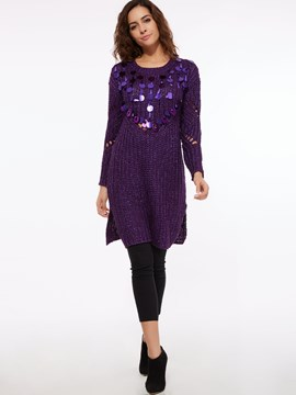 Ericdress Sequins Embroidery Hollow Sweater Dress
