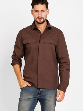 Ericdress Plain Big Pocket Casual Men's Shirt
