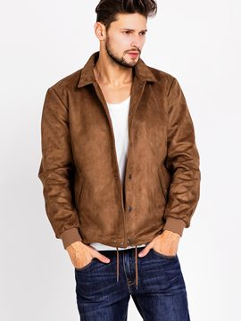 Ericdress Single-Breasted Faux Suede Vogue Men's Jacket