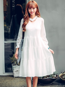 Ericdress Sweet Hole V-Neck Patchwork Layered Casual Dress