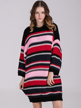 Ericdress Strip Patchwork Colorful Loose Sweater Dress