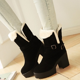 Ericdress Modern Fur Buckles Ankle Boots