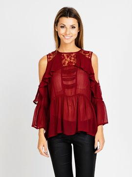 Ericdress Solid Color Lace Patchwork Trumpet Off-Shoulder Blouse