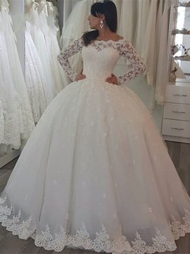 Ericdress Charming Off the Shoulder Long Sleeves Ball Gown Wedding Dress