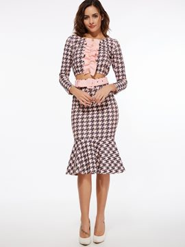 Ericdress Houndstooth Print Falbala Fishtail Skirt Suit