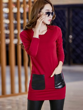 Ericdress Slim Patchwork T-Shirt