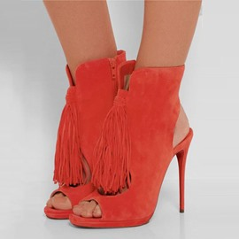 Ericdress Orange Fringe Backless High Heel Boots