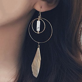 Ericdress Circle with Feather Pendant Earrings