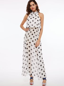 Ericdress Black Polka Dots Maxi Dress