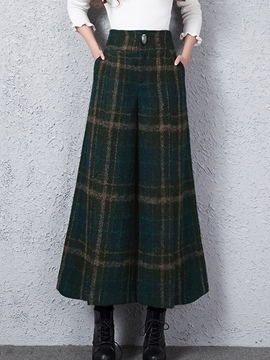Ericdress Vintage Plaid High-Waist Thick Wide Legs Pants