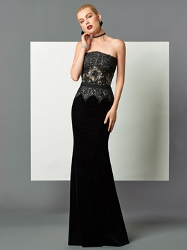 Ericdress Fancy Strapless Lace Floor-Length Mermaid Evening Dress