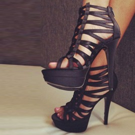 Ericdress Black Cut Out Strappy Platform Stiletto Sandals