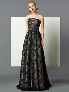 Ericdress A Line Strapless Floor Length Lace Evening Dress