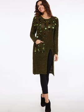 Ericdress Sequins Embroidery Pocket Split Sweater Dress