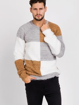 Ericdress Color Block Warm Pullover Men's Sweater