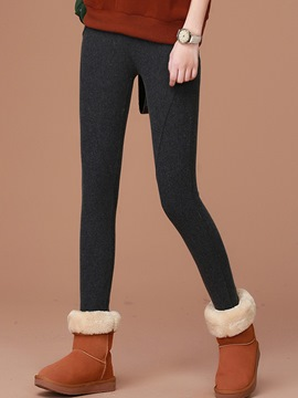 Ericdress Solid Color Thick Leggings Pants