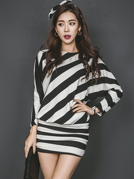Round Neck Zebra-striped Bodycon Dress