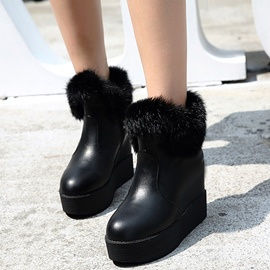 Ericdress PU Furry Side Zipper Platform Ankle Boots