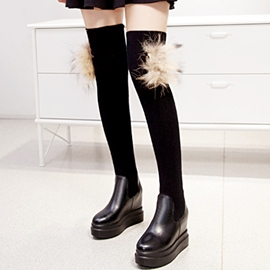 Ericdress Patchwork Elevator Heel Thigh High Boots
