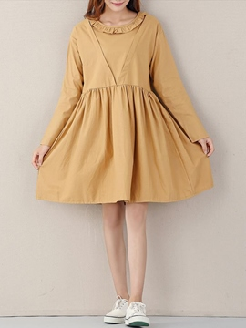 Ericdress Stylelines Ruffled Collar Pleated Casual Dress
