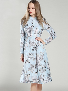 Ericdress Stand Collar Button Floral Print Casual Dress