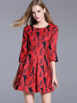 Ericdress Floral Print Pleated Above Knee Casual Dress