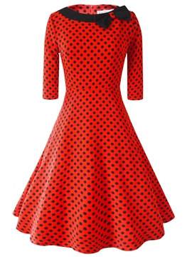 Ericdress Polka Dots Bowknot Patchwork Casual Dress