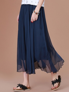 Ericdress Pleated Chiffon High-Waist Usual Skirt