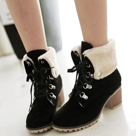 Ericdress Suede Lace up Block Heel Ankle Boots