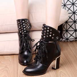 Ericdress Rivets Lace up Chunky Heel Boots
