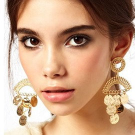 Ericdress Exaggerated Golden Sequins Women Earrings