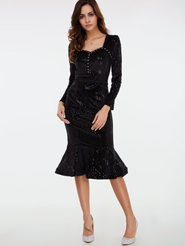 Ericdress Damiond Sequins Patchwork Square Neck Mermaid Casual Dress