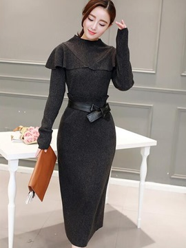 Ericdress Solid Color Bowknot Long Sleeve Jacket Skirt Suit