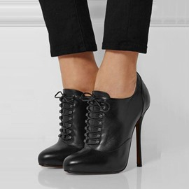 Ericdress Chic Black Lace Up High Heel Boots