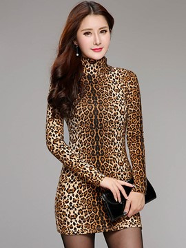 Ericdress Slim Leopard Turtleneck T-Shirt