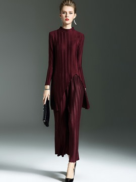 Ericdress Solid Color Pleated Long Sleeve Leisure Suit