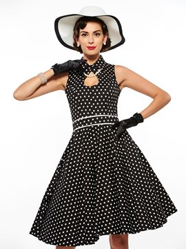 Ericdress Sleeveless Black Polka Dots Casual Dress