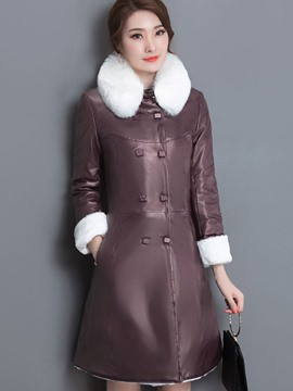 Ericdress Color Block Double-Breasted Faux Fur Collar Coat