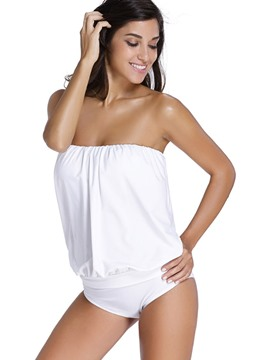 Ericdress Sexy Plain Strapless Tankini Set