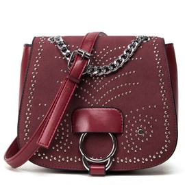 Ericdress Stylish Rivets Circle Decorated Saddle Shoulder Bag