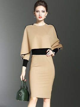 Ericdress Batwing Patchwork Color Block Spllit Sheath Dress